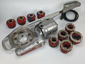 Toledo No. 68 Power Pipe Threading Machine w/ 9x Dies - hand held vintage TESTED