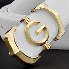 Genuine Leather High Quality G Style Buckle Belt Women Men Luxury Waist Strap