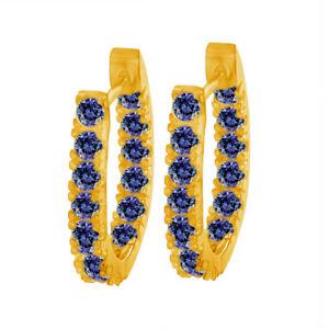 1.50 Ct Round Tanzanite December Birthstone Hoop Earrings 14k Yellow Gold Over