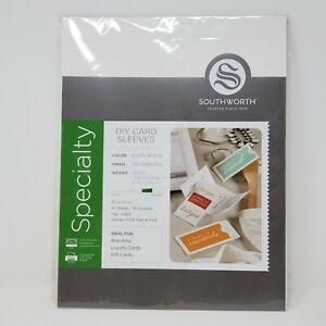 Southworth 91306 DIY Card Sleeves 3 5/8 x 2 1/4 Techweave Bare White 30 Sleeves