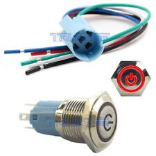 Socket Plug+16mm RED MOMENTARY Horn Button Metal Switch 12V LED Power