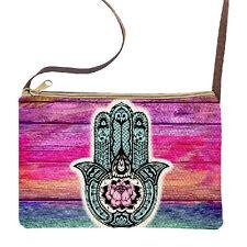 Hamsa Hand/Lotus Flower Gypsy Zen Sling Purse/Handbag w/Matching Coin Purse