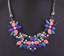 Coral, Navy and Teal Women's Floral Statement Necklace