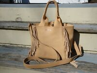LUCKY BRAND Tote Handbag Summer Suede Leather Tan Fringe Hippie Boho Hobo Crossb
