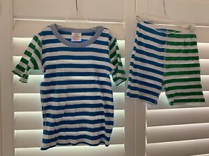 Hanna Andersson Boys Pajamas Blue/Green Striped Short-Sleeved Size 10 (140 cm)