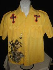 RETROFIT S/S EMBROIDERED FT. & BK. YELLOW BUTTON UP SHIRT