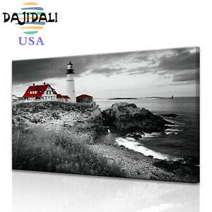 DJDL Red Portland Lighthouse Print Bedroom Bathroom Home Decor Wall Art Picture