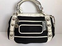 New Rampage Vegan Handbag Two Handlers Shoulder Strap Black White Silver Purse