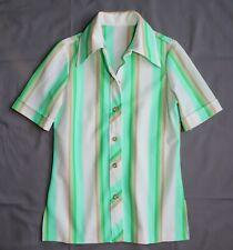 True Vintage 70's Women's M - Green Striped Butterfly Collar Poly Knit Shirt