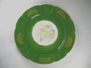 Green Portrait Plate Trimmed in Gold  with Picture of Three Cherubs..