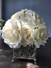 Vintage Faux Flower Arrangement In Ornate Metal Footed Planter White Roses