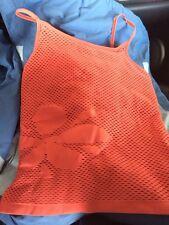 Women's Seamless Medium Nike Fit Dri Salmon Tank Shirt Exercise Top Mesh Flower