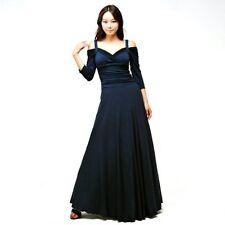 New Evanese Women 3/4 Sleeve Elegant Long Dress D6635 /Navy /Large.