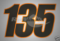 CARBON FIBRE RACE NUMBERS STICKERS DECALS GRAPHICS x3
