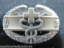 Old Sterling Silver WW2 Medical Corpsman Pin Caduceus Cross Pinback original pin