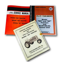 SET ALLIS CHALMERS WC TRACTOR SERVICE PARTS OPERATORS MANUAL OWNERS CATALOG AC
