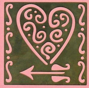 HEART +Arrow LOVE    Brass Stencil NEW card making  scrapbook embossing