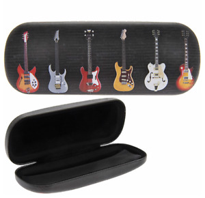 NEW - Electric Guitar Design Hard Glasses/Sunglasses Case - Soft Cloth Included