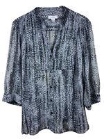 CJ Banks Womens 3X Black Gray Print 3/4 Sleeve Button Up Semi Sheer Blouse