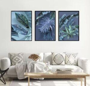 Set of 3 Wall Art Prints Poster Blue  Bedroom Living Room Wall Decor FRAMED A4