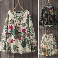 ZANZEA Women Casual Holiday Loose Tops Floral Oversized Cotton Shirt Blouse Tee