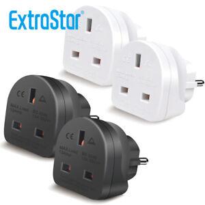 2x UK To EU European Europe 2 Pin Holiday Travelling Adapter UK Plug White Black