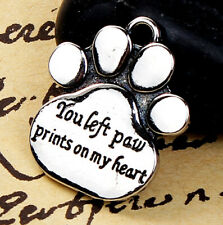 You Left Paw Prints on My Heart Silver Charm Bracelet for Traditional Dangle