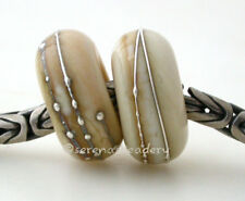 Black Silver Wrap Pair European Charm Lampwork Glass Beads - 14 mm