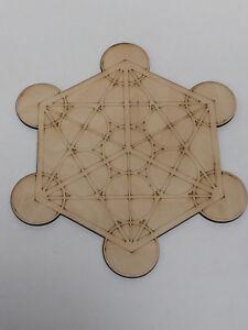 Wooden Crystal Grid Plate Merkaba Metatron's Cube Sacred Geometry Healing Spirit