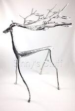 Pottery Barn Sculpted Silver Alum Reindeer Votive Candle Holder Candelabra NWT