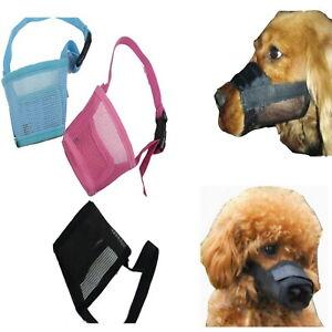 Dog Mesh Muzzles Pink Blue Black M L Xl XXL - Adjustable Comfortable Stop Biting