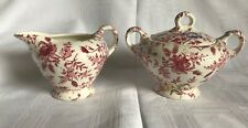 VTG Empire Chintz Stoke On Trent England Floral China Lidded Sugar & Creamer