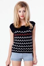 Rayon Short Sleeve Geometric Regular Size Tops for Women