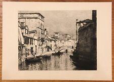 """Lucien Gautier - Original Etching """"A Venetian Canal"""" 1884"""