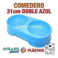 COMEDERO BEBEDERO DOBLE PERRO PLÁSTICO AZUL 31cm RESISTENTE D105 1000
