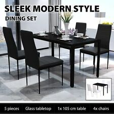vidaXL Dining Furniture Set 5 pcs Kitchen Dinner Room Table Chairs Black/White