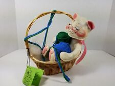 Vintage 1986 Annalee Mobilitee White Cat in Knitting Basket w/Original Tag, MINT