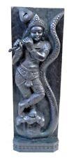 Hindu God Krishna Wooden Temple Wall Panel Statue Sculpture Decor Kaliya Krsna