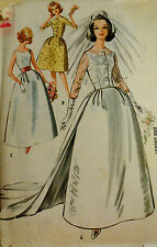 Vtg 1960s Wedding Gown Formal Cocktail Dress McCall's 6605 Size12 Bust 32