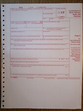 2017 IRS Tax Form 1098-C single sheet set for 1 donor, carbonless 4-part