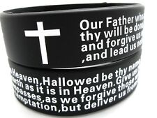 cross wristband bracelets religious jewelry wholesale 50 Silicone Lord's prayer