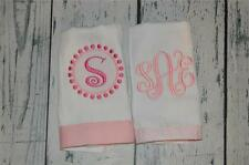 Personalized Burp Cloth set 2  Burp Cloths Pink Seersucker and Vine Monogram