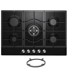 Cookology GGH755BK | 75cm Built-in 5 Burner Black Gas-on-Glass Hob & Wok Stand