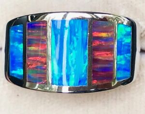Wide Windows Ring Blue Red Opal Sterling Silver MAGIFICENT 11.5 men Man Gents