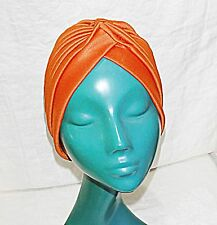 *TANGERINE RUST SOFT PLEATED TURBAN O/S HAT GREAT FOR A BAD HAIR DAY FRENCH CHIC