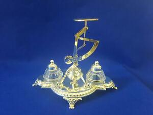 Rarely Seen 1900s WMF Silver Combined Double Inkwell Stand Letter Scale Balance