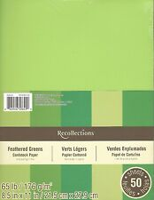 "New Recollections 8.5x11"" Cardstock Paper Feathered Greens 50 Sheets"