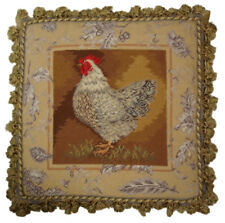 "20""x20"" Handmade Wool Needlepoint French Country Rooster Toile de Jouy IV Pillow"