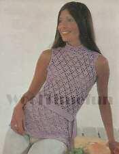 Crochet Pattern Lady's Summer sleeveless top/tunic/jumper. 4ply Cotton Yarn.