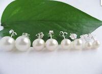 Wholesale Natural White Akoya Freshwater Pearl Sterling 925 Stud Earrings